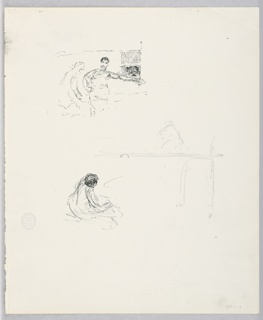 Partial sketches of a male figure.