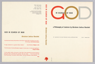 "Cover design for ""God in Search of Man,"" by Abraham Joshua Heschel. Cover features black text on white ground, the word ""GOD"" treated differently and arranged at top in red, gold, and silver letters spanning the width of the cover. At back cover, critical reviews printed in red."