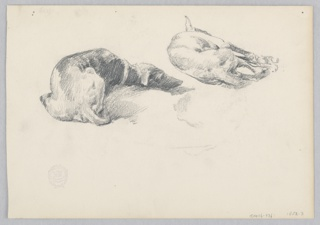 Recto: Sketch of dogs sleeping; Verso: Sketch of a female figure.
