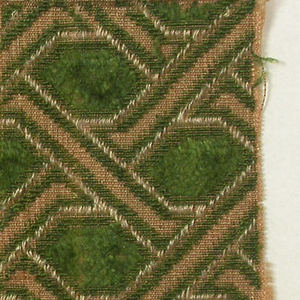 Trellis pattern in green, white and natural.
