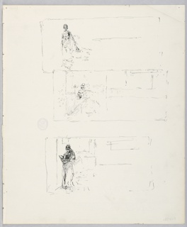 Three sketches of a female figure reading within an interior room.