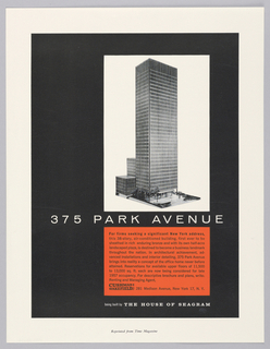 Advertisement reprint for Seagram's Building at 375 Park Avenue, New York, NY. Black vertical rectangle with white margins at all sides. Black and white photoillustration of model for Seagram's building within white rectangle at upper right. White printed text below. At lower right, a red horizontal rectangle with black printed text. Printed text in white and black below.