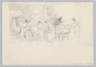 Sketch of male figures working in a blacksmith shop.