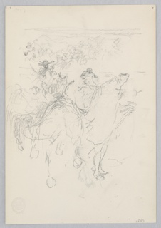 Sketch of two male figures on horseback with a crowd in the distance.