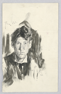 Portrait bust of a man's head and shoulders, facing front. Verso: figure; enframed sketch of hand; various notations.
