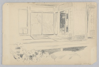 Sketch of an interior room from the garden.