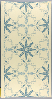 Against a cream-colored ground, large eight-pointed leafy star shapes, regularly spaced and connected by conventionalized vines and tendrils, are printed in a soft blue.