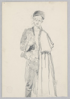 Sketch of a male figure wearing a hat and cape.