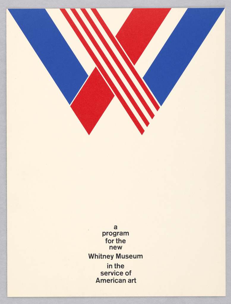 """Folder for the Whitney Museum of American Art. At top, a """"W"""" formed by bands of red and blue, including one red and white striped band. Printed text in black centered at bottom."""