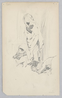 Sketch of three male figures; Center left, male figure seated with head covered; Center, male figure standing with head covered; Center right, partial view of a male figure lying on the floor with his arms covering his face.