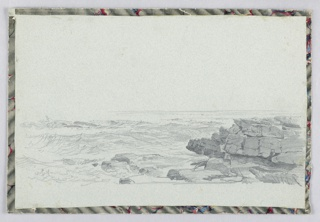 Sketch of waves crashing in front of a rocky ledge.