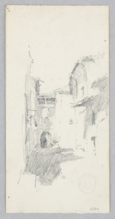 Sketch of street scene in Venice.