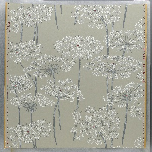 White Queen Anne's Lace flowers with dark red centers on stems in dark and lighter gray. Printed on a light gray ground.
