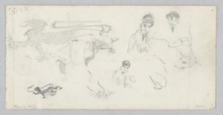 Recto: Left, partial sketch of heraldic lions; Right, partial sketch of male and female figures; Verso, Sketch of two female figures.
