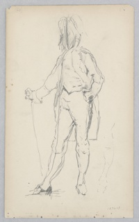 Sketch of a male figure dressed in a uniform, with long waistcoat, short pants, hat.