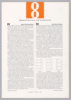 "Vertical format newsletter, with black printed text and illustrations on white ground. At top center, the logo of an ""8"" in white within an orange square. A smaller version of this logo in black aligned left at the beginning of each newsletter article, article titles in bold to right of logo. The newsletter consists of 6 separate articles, some with folded illustrations, and includes a folded yellow insert."