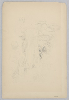 Sketch of a woman kneeling beside a fountain.