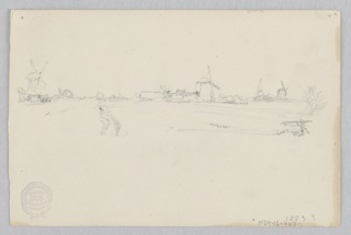 Sketch of a landscape with windmills along the horizon.