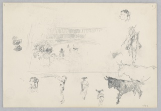 Center, Sketch of a bullfight; Below, Partial sketches of a male figure and a bull.