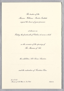 Vertical format invitation with lines of printed black script aligned at center describing the event and location. Additional printed text at lower left provides R.S.V.P. information.