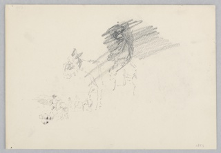 Center, Partial sketch of a donkey; Below, Sketch of a village scene with figures and animals.