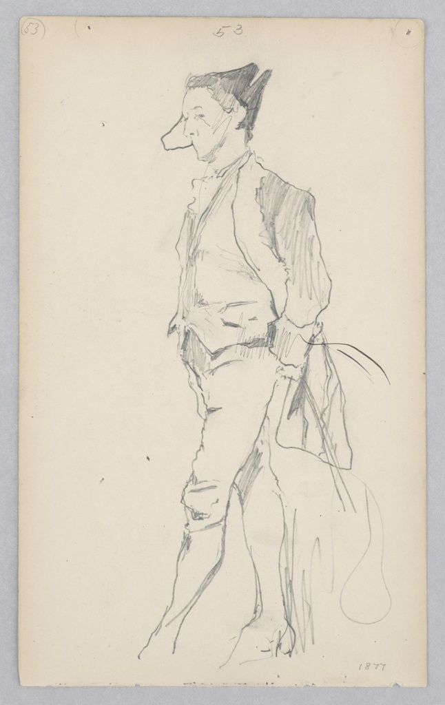 Profile sketch of a male figure standing wearing a tailcoat, vest, trousers, and hat.