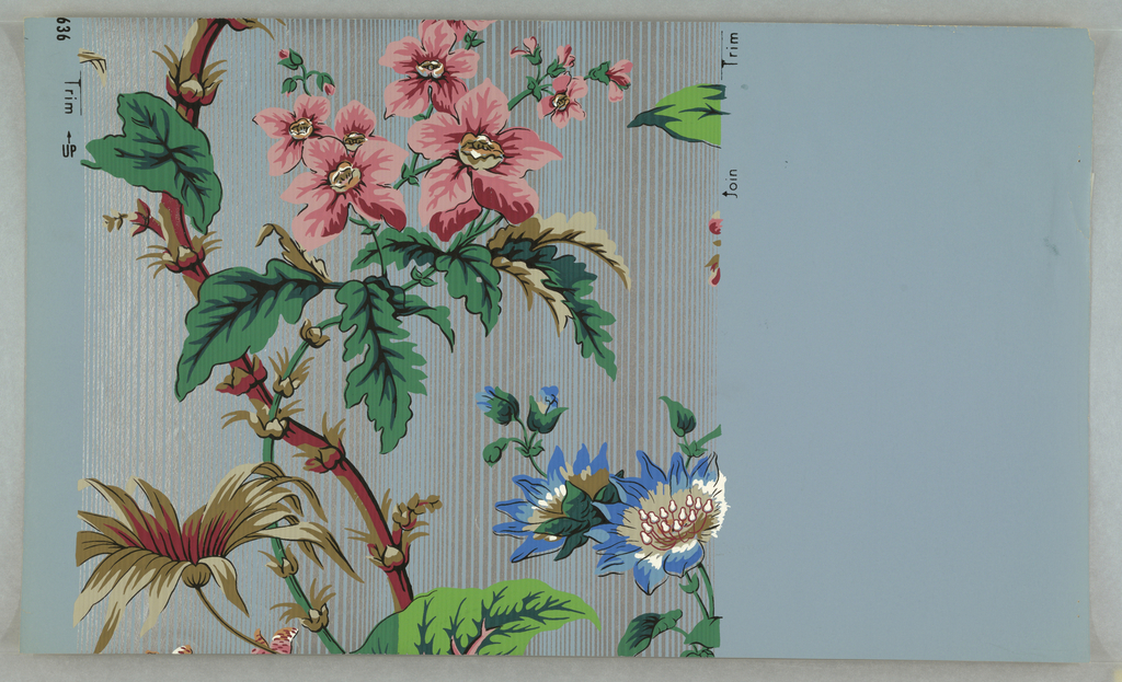 On grayed-blue ground, narrow vertical stripings of metallic silver,over- printed with large scale pink and red and blue flowers on large leafed green vine.