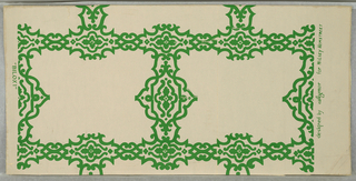 "The design is inspired from the scrolled borders used to enclose the scenic medallions of about the middle of the 19th century. The intertwining scrolled bands form rectangles. Printed on margin: ""Biloxi"" designed by Seymour for Wilsey Hemstreet. a) Green design on gray field; b) white design on silver field; c) white design on slate-blue field; d) gold design on ivory field."