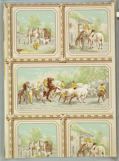 """One large and two small rectangles alternating, containing scenes from a horse fair (the larger a free copy of Rosa Bonheur's """"The Horse Fair""""). Heavy bead and reel molding separating rectangles. a) Predominantly beige and brown on gray; b) predominantly green and beige on beige."""