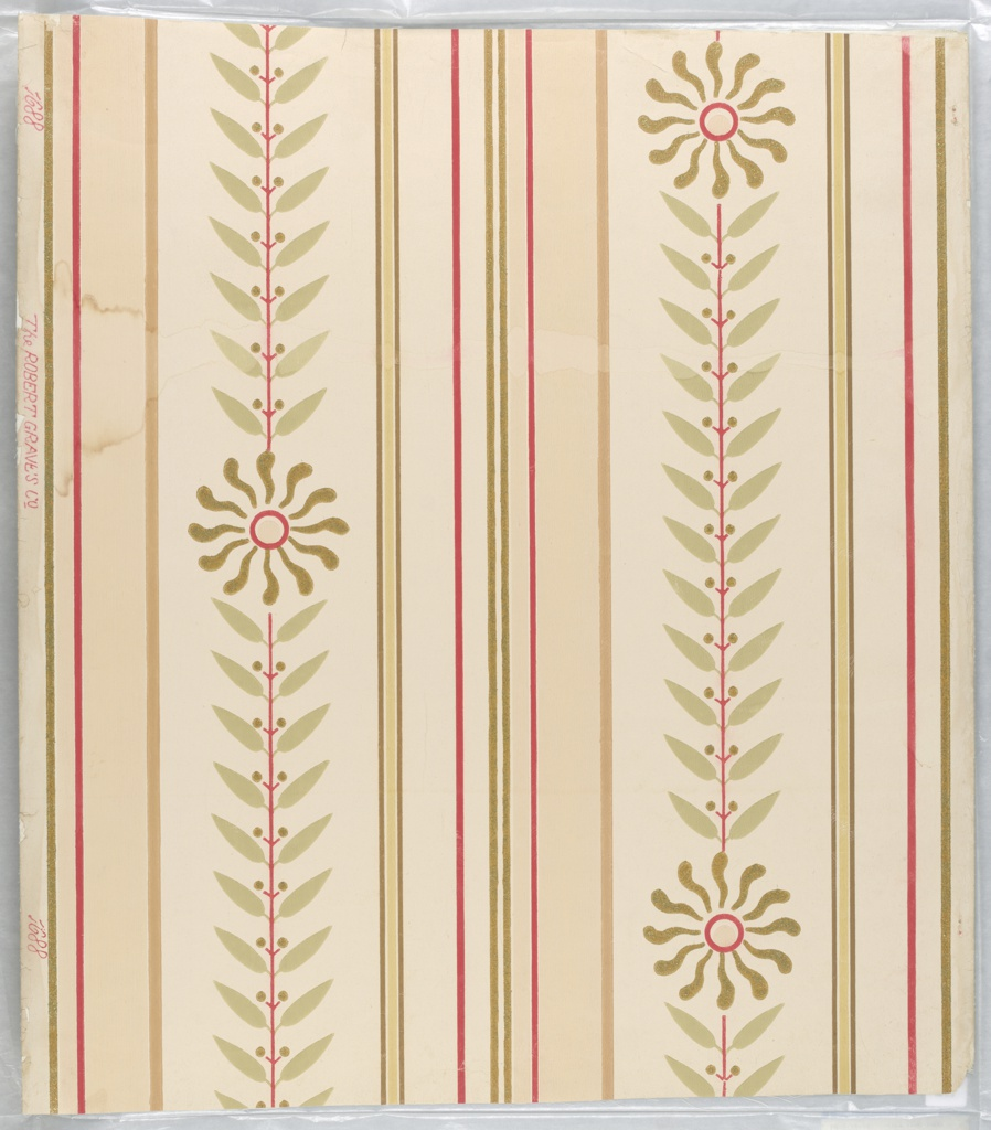 Tan, cream and red stripes with whirls and conventional olive design. Mica finish.