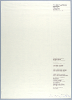 Vertical rectangle. Title page of second plate.  Vertical black text block, flush right on white ground.  At upper right corner, title of plate 2, at lower right; project authorization, with list of prints in portfolio. (See 1999-6-5-5.)