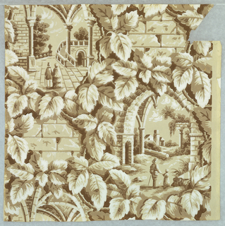 Gothic Revival; Framework of vines alternating large and small motifs. Large motif alternates between two figures in a portico, and two figures surveying a landscape with Italianate architecture; smaller motif represents a masonry wall.