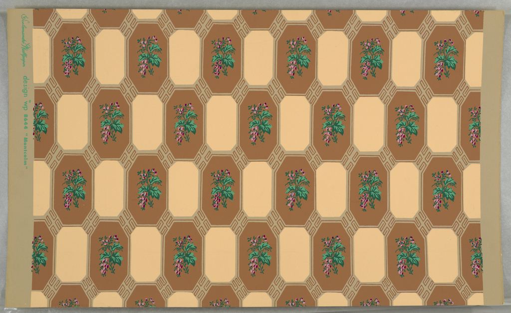 "On putty-colored ground, small scale pattern of alternating brown and beige vertically oriented octagons. Spring of leaves and berries, bright pinks and green, on each brown octagon. Printed in margin: ""Scalamandre Wallpaper design wp 8644 'Montcalm'""."