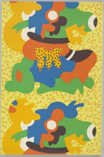 Children's wallpaper with the repeating motif of a large-scale stylized cow. Printed on spotted yellow ground.