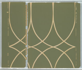 Motif of two s-curves overlaid diagonally then repeated horizontally with overlap forming pattern with diamonds and pointed arches; curves formed of thin off-white bands with thinner orange bands inset; ground is dark sage green.