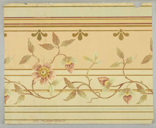 Vine, leaf and flower design in old rose and olive, broad peach and cream stripes, narrower turquoise and red stripes, mica finish.