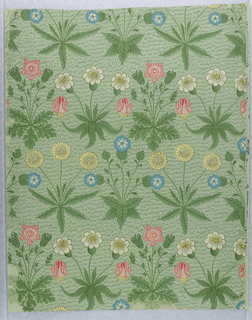 Formally arranged clusters of leafy flowering plants: daisies, sweet Williams and columbines, on grass-flecked background. Printed in shades of green, pink, blue, olive, yellow and gray on a light green ground.
