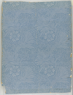 Floral and foliate design, printed in shades of blue.