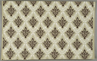 All-over drop repeat of marigold in brown surrounded by white floral lattice, on gray ground (original coloring).