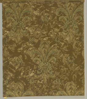 a) sidewall: brown fleur-de-lys with green, gold on brown background; b) border: large fleur-de-lys in brown and gold.