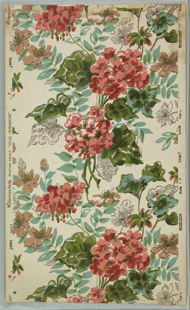 Random arrangement of large pink geraniums with green leaves. Other flowers and leaves in brown and white. Printed on white ground.