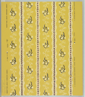 "On mustard-yellow ground, floral stripes in white, black, peach-color; lace-like patterns, flower forms, foliate form the stripes. Printed in margin: ""A Katzenbach and Warren Hand Print. Joseph Hopkinson House"" Wallpaper."