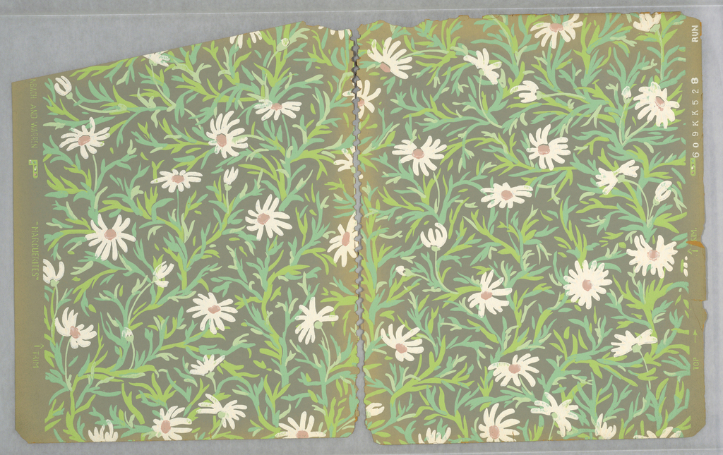 """All-over pattern of daisies with white daisies on green stems irregularly-arranged on a grayish ground; each flowerhead and stem is unique, seemingly marked out in quick brushstrokes; on the trim the pattern is identified as """"Marguerites""""."""