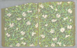 "All-over pattern of daisies with white daisies on green stems irregularly-arranged on a grayish ground; each flowerhead and stem is unique, seemingly marked out in quick brushstrokes; on the trim the pattern is identified as ""Marguerites""."