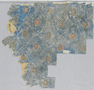 Printed over gray ground with black dots and white meandering vine, flowersof 1968-66-2, a bright blue ground, with small-scale pattern of white vine marking off diamond grid: in center of each diamond, an oval orange floral medallion.