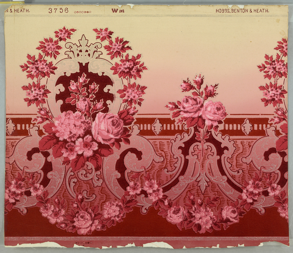 Imitates a flock paper. Scrollwork and clusters of roses. The scrollwork is silvered. Printed in silver, red and pink on graded cream ground.