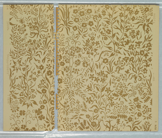 All-over pattern of stylized meadow; no clear repeat; many varieties of flowers and leaves; pattern has stenciled effect with simple two-tone color scheme of brown on beige.