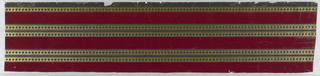 Gauffred gold bands decorated with two rows of black diamonds; flanking maroon flocked strips of equal width. On border, in gilt, 1086 and AWPMA in cartouche. (Initials stand for American Wall Paper Manufacturer's Association.)