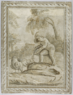 Vertical rectangle. Scene with putto feeding a chicken, under two trees. Simulated architectural molding applied as a border.