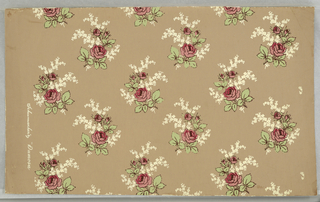Drop repeat of sprays of roses and forget-me-nots. Printed in red, pink, green and white on brown.